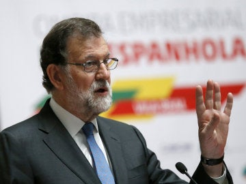 Mariano Rajoy, durante su intervención durante la reunión del foro empresarial en la segunda jornada de la XXIX Cumbre Luso-Española