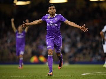Casemiro celebrando su gol a la Juventus