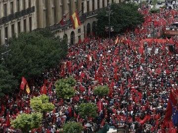 Manifestación en Pamplona en defensa de la bandera de Navarra