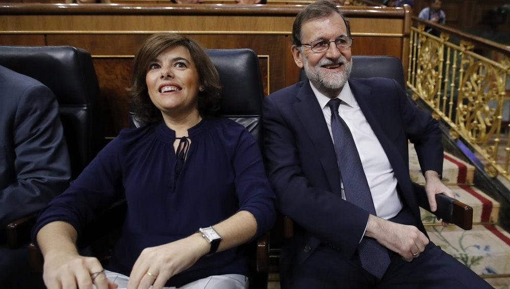 Mariano Rajoy y Soraya Sáenz de Santamaría en el Congreso