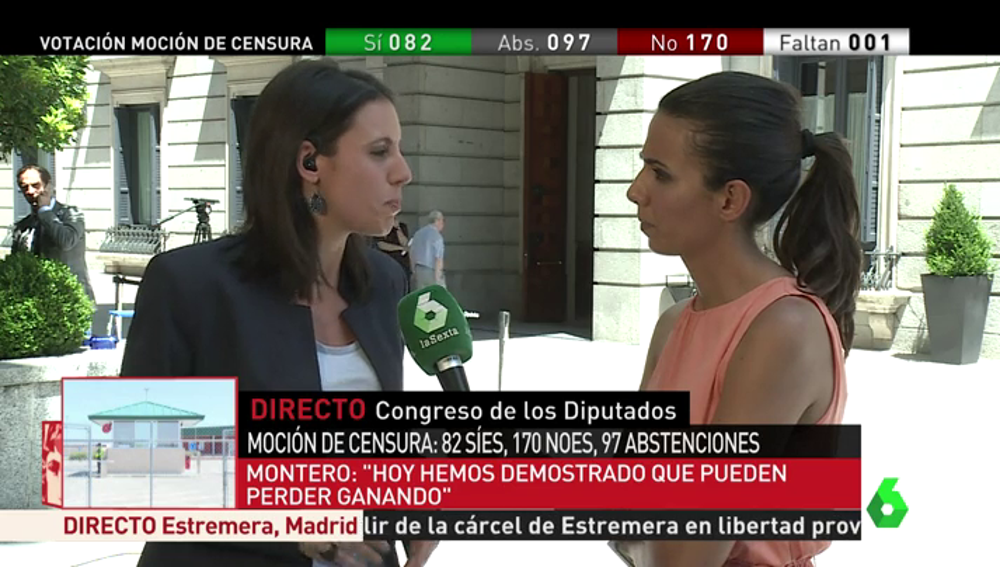 Irene Montero hablando con Ana Pastor