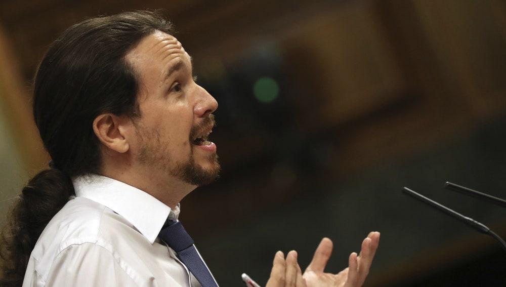 El líder de Podemos, Pablo Iglesias, durante su intervención