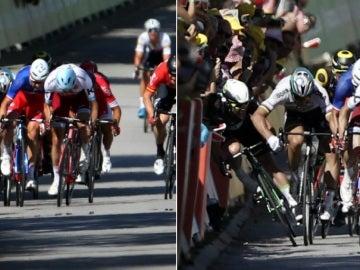 Peter Sagan derriba a Cavendish en el esprint