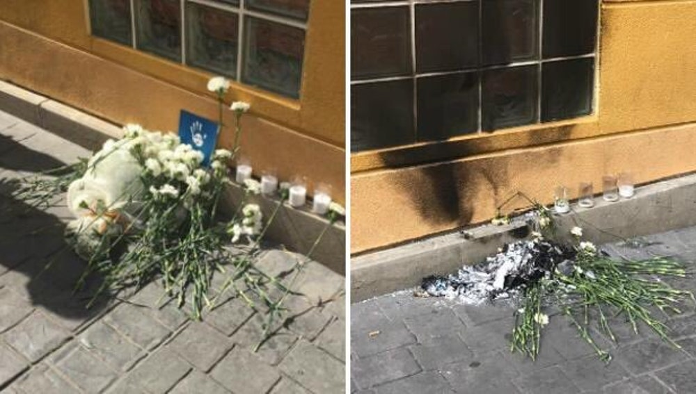 Las flores del homenaje a Miguel Ángel Blanco en Getafe