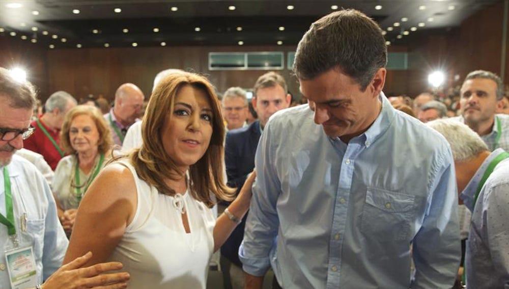 Susana Díaz y Pedro Sánchez en la clausura del congreso del PSOE-A