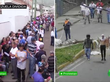 División total en Venezuela: un país que vota en la Constituyente de Maduro y otro que se opone con protestas