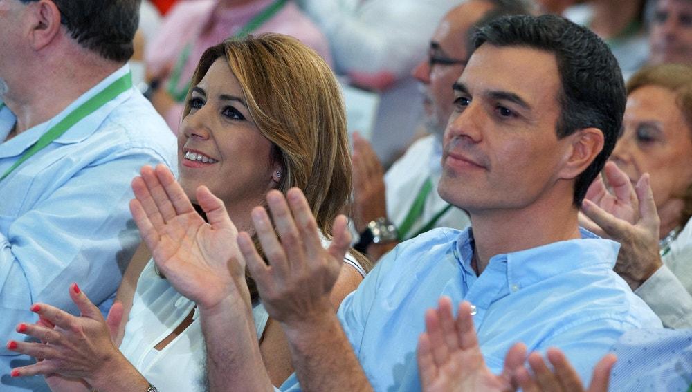 La presidenta andaluza Susana Díaz y el secretario general del PSOE Pedro Sánchez