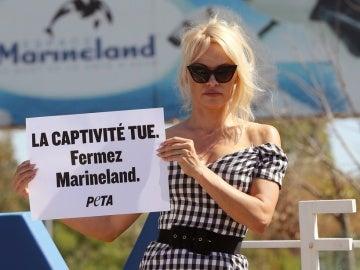 La actriz Pamela Anderson se manifiesta ante el parque marino Marineland