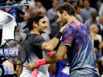 Del Potro y Federer tras su encuentro en Flushing Meadows