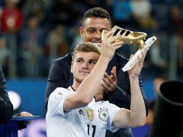 Timo Werner, con la bota de oro de la Copa Confederaciones