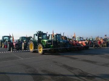 Los tractores antes de comenzar su marcha