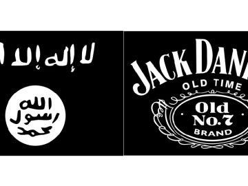 Bandera de Daesh y bandera de Jack Daniel's