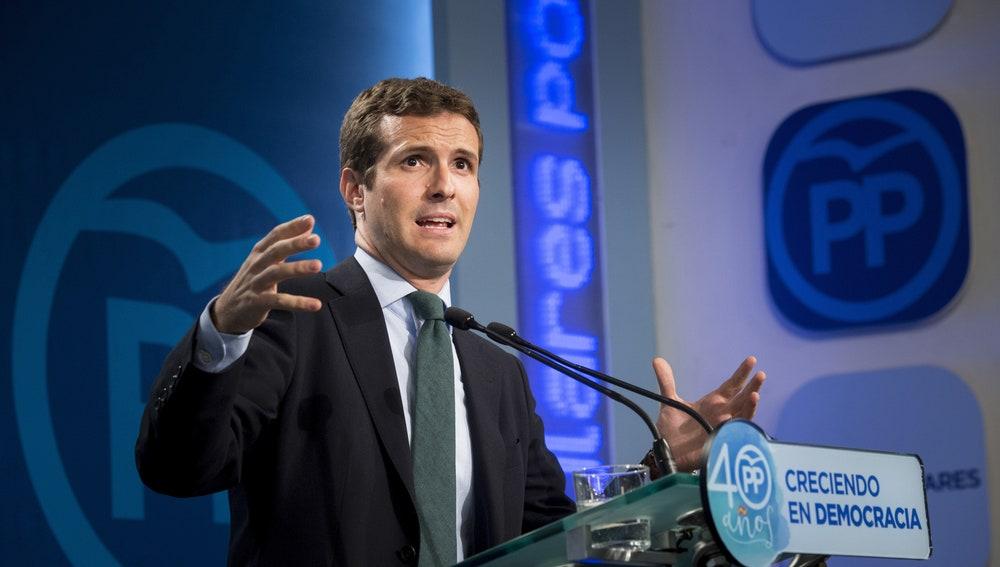 Pablo Casado en rueda de prensa