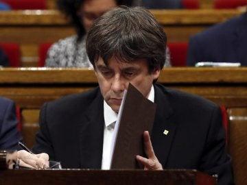 Carles Puigdemont en el Parlament | Archivo