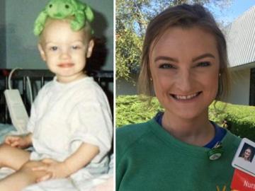 Montana Brown durante su enfermedad y ahora como enfermera