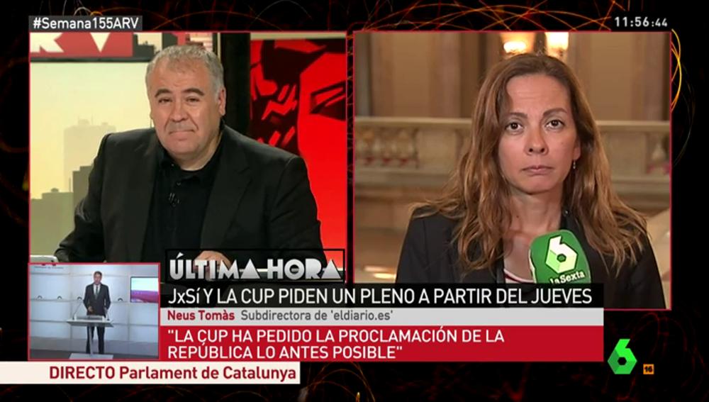 """Neus Tomàs: """"En la Generalitat hay cierto temor a que se acabe provocando un colapso institucional"""""""