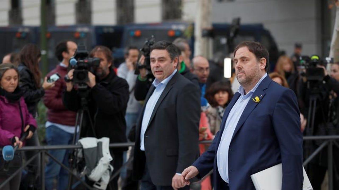 El vicepresidente cesado de la Generalitat de Cataluña, Oriol Junqueras, a su llegada a la sede de la Audiencia Nacional