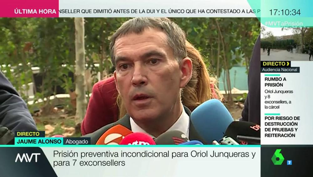Jaume Alonso, abogado de Puigdemont y varios exconsellers