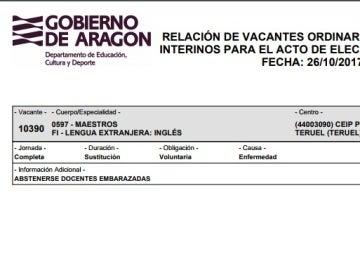 Oferta de empleo publicada por el departamento de Educación Cultura y Deporte del Gobierno de Aragón