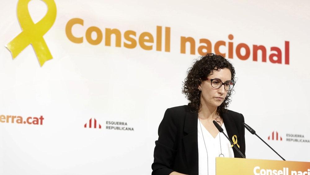 La secretaria general de ERC, Marta Rovira, durante su intervención