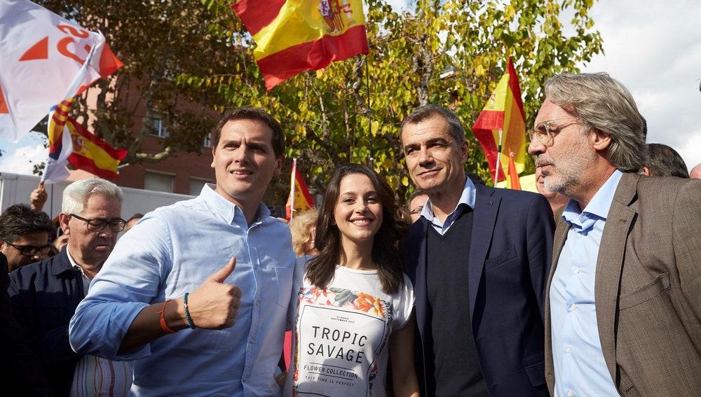 Albert Rivera junto a Inés Arrimadas, Toni Cantó y el concejal de Sant Andreu de Llavaneras Carlos Sánchez Nicolau