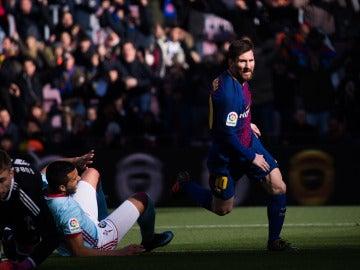 Leo Messi anota el 1-1 ante el Celta de Vigo