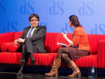 Carles Puigdemont durante la entrevista