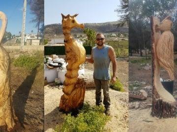 Miguel Ángel con sus esculturas talladas en árboles quemados