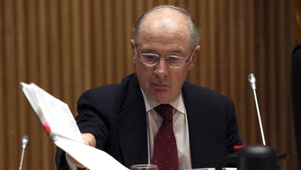 El exvicepresidente y exministro de Economía Rodrigo Rato, momentos antes de su comparecencia en la Comisión de investigación