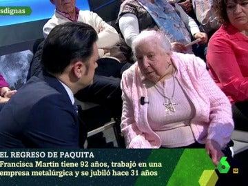Paquita, pensionista de 91 años