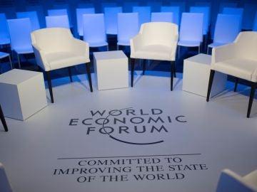 Vista de una de las salas en la víspera de la celebración del Foro Económico Mundial de Davos de 2020