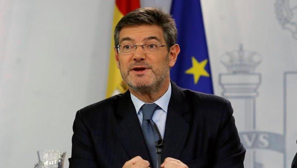 El ministro de Justicia, Rafael Catalá, durante una rueda de prensa
