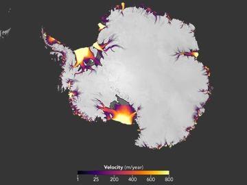 Mapa satelital que mide la descarga de hielo en la Antártida
