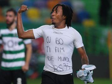 Gelson Martins, con la camiseta en apoyo a Semedo