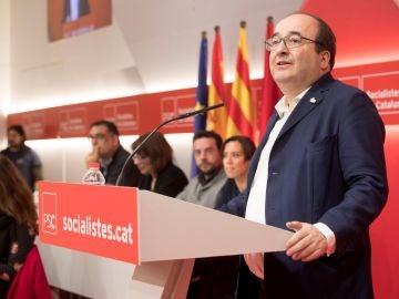El primer secretario del PSC, Miquel Iceta, duante su intervención ante el consell nacional de los socialistas catalanes para exponer su informe político