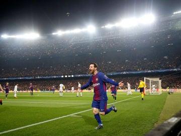 Messi celebra su primer gol contra el Chelsea