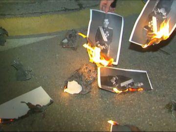 Quema de fotos del rey en Banyoles para celebrar la sentencia de Estrasburgo