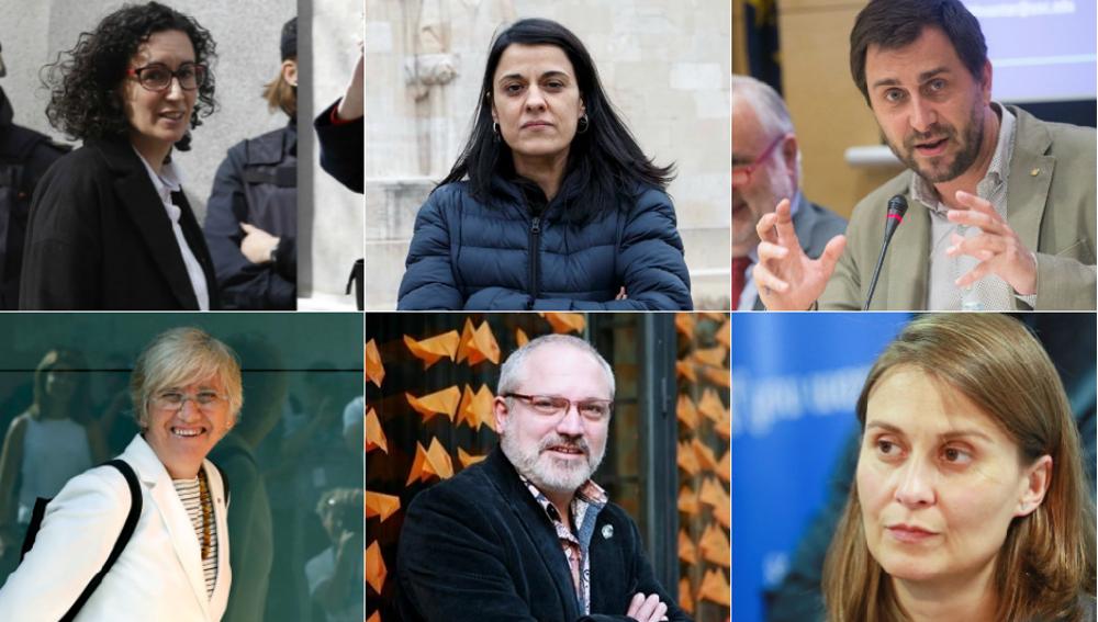 Marta Rovira, Anna Gabriel, Toni Comín, Clara Ponsatí, Lluis Puig y Meritxell Serret
