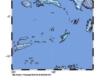 Imagen del Instituto Geológico de Estados Unidos sobre el terremoto en Papúa Nueva Guinea