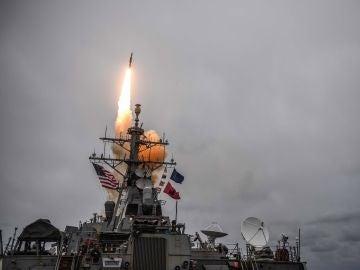 Fotografía de uno de los misiles lanzado por EEUU contra Siria
