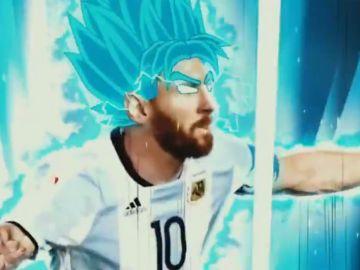 Messi, en modo Super Saiyan Blue