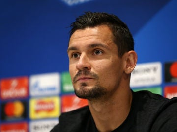 Dejan Lovren, en el Media Day del Liverpool