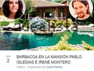 Imagen de la barbacoa convocada en la casa de Irene Montero y Pablo Iglesias