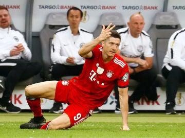 Lewandowski, durante un partido con el Bayern