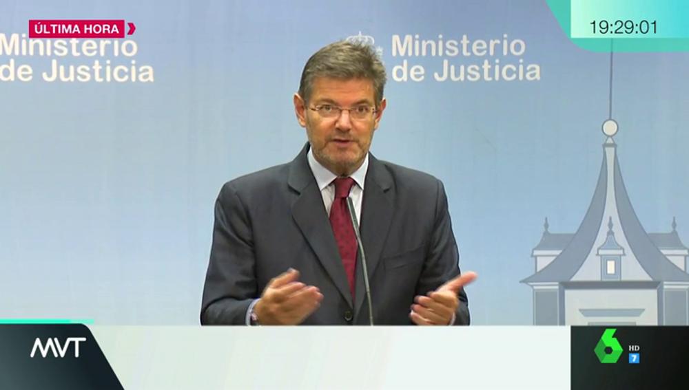 El ministro Rafael Catalá ante los medios