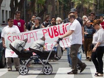 Un grupo de inmigrantes protesta en Barcelona
