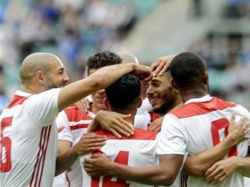 Marruecos celebra un gol