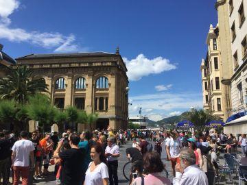 Imagen de la cadena humana en País Vasco en favor del derecho a decidir