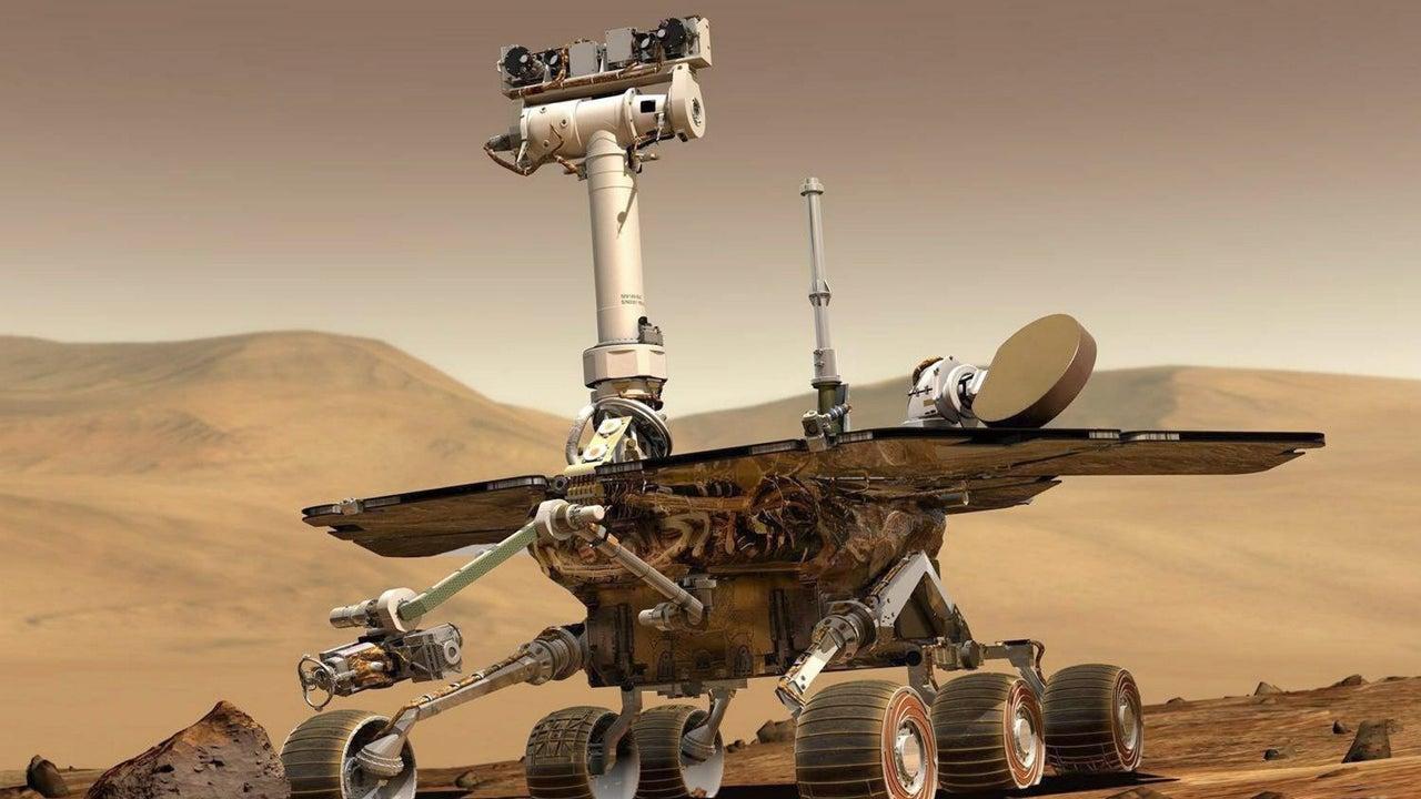 Imagen de archivo del rover Opportunity de la NASA en Marte