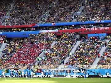 La grada del estadio Krestovsky durante el Brasil - Costa Rica